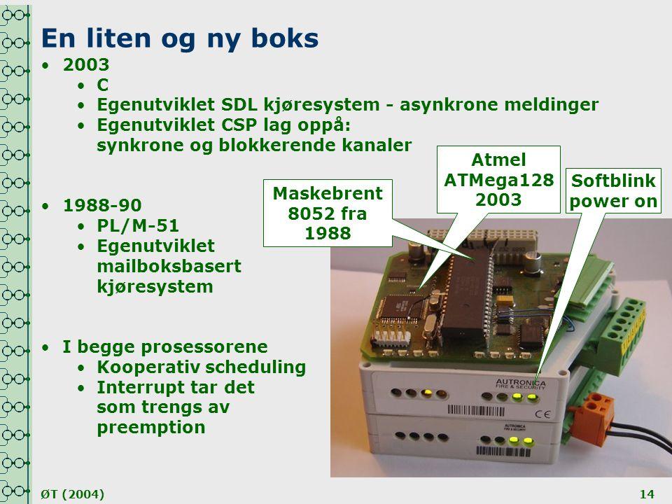 En liten og ny boks 2003. C. Egenutviklet SDL kjøresystem - asynkrone meldinger. Egenutviklet CSP lag oppå: synkrone og blokkerende kanaler.
