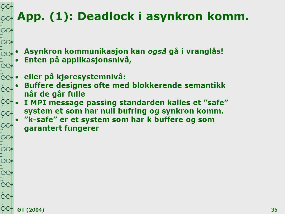 App. (1): Deadlock i asynkron komm.