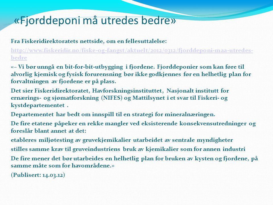 «Fjorddeponi må utredes bedre»