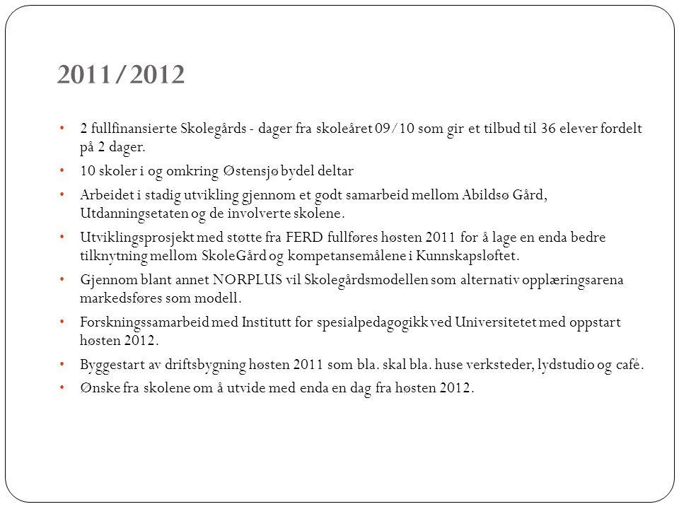 2011/2012 2 fullfinansierte Skolegårds - dager fra skoleåret 09/10 som gir et tilbud til 36 elever fordelt på 2 dager.