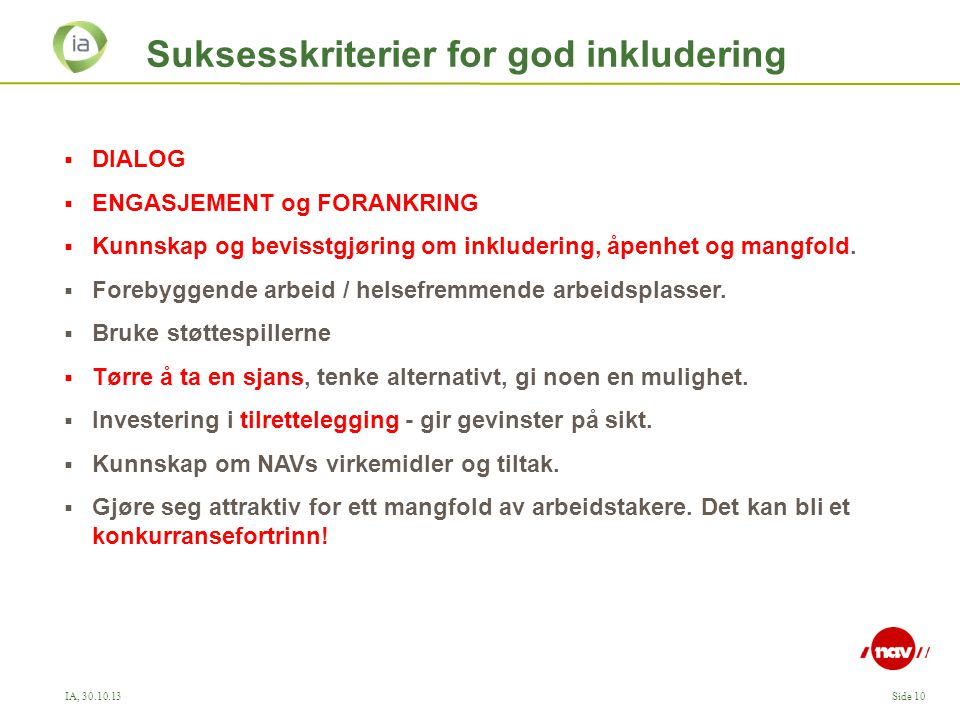 Suksesskriterier for god inkludering