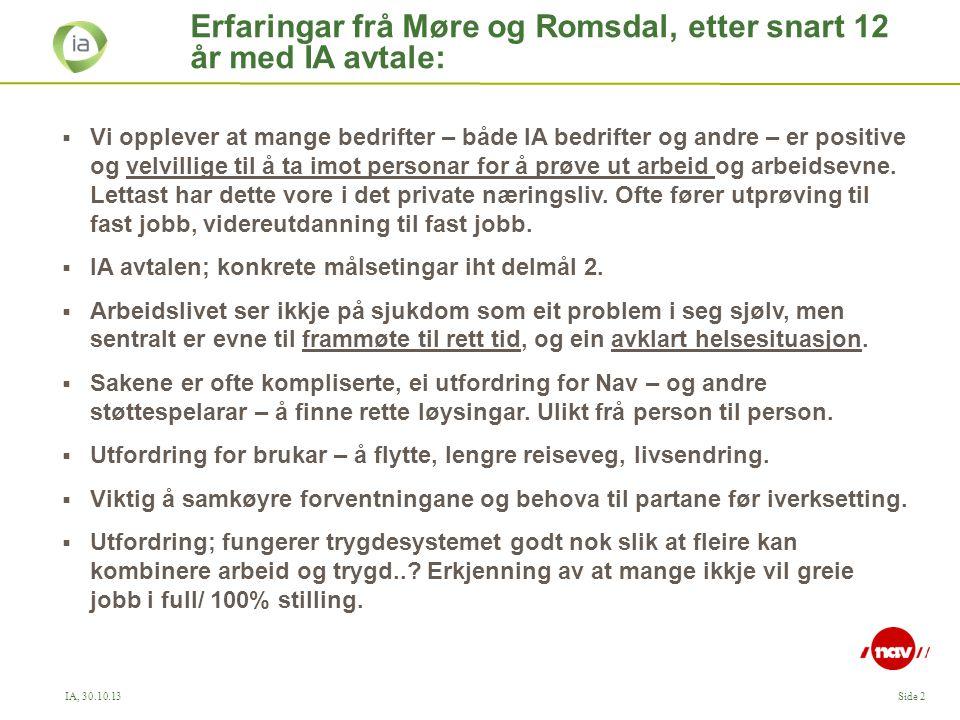 Erfaringar frå Møre og Romsdal, etter snart 12 år med IA avtale: