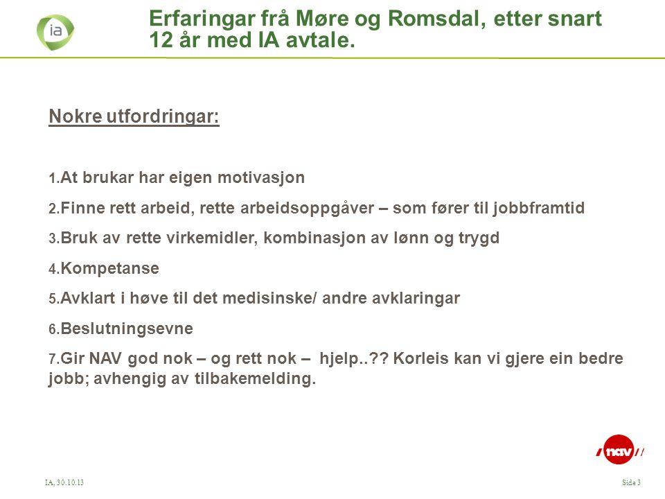 Erfaringar frå Møre og Romsdal, etter snart 12 år med IA avtale.