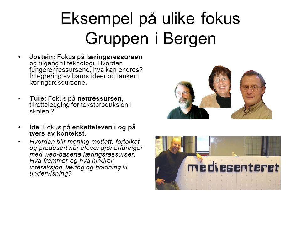 Eksempel på ulike fokus Gruppen i Bergen