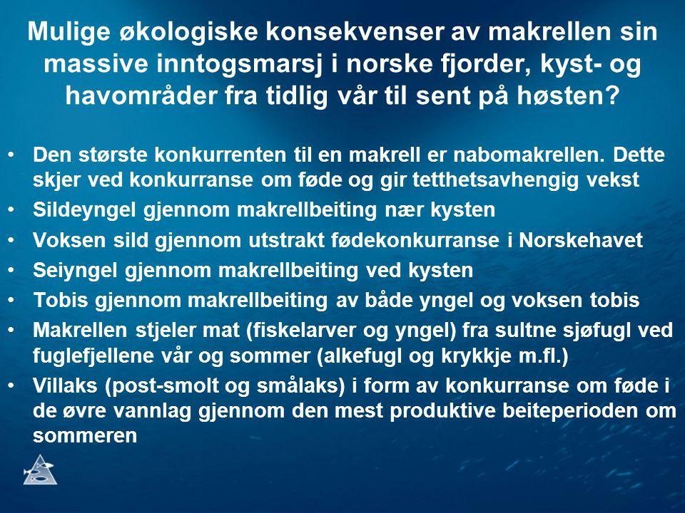 Mulige økologiske konsekvenser av makrellen sin massive inntogsmarsj i norske fjorder, kyst- og havområder fra tidlig vår til sent på høsten