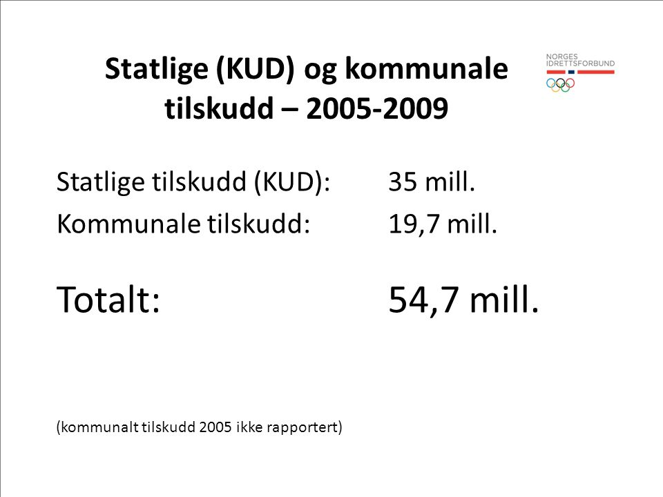 Statlige (KUD) og kommunale tilskudd – 2005-2009