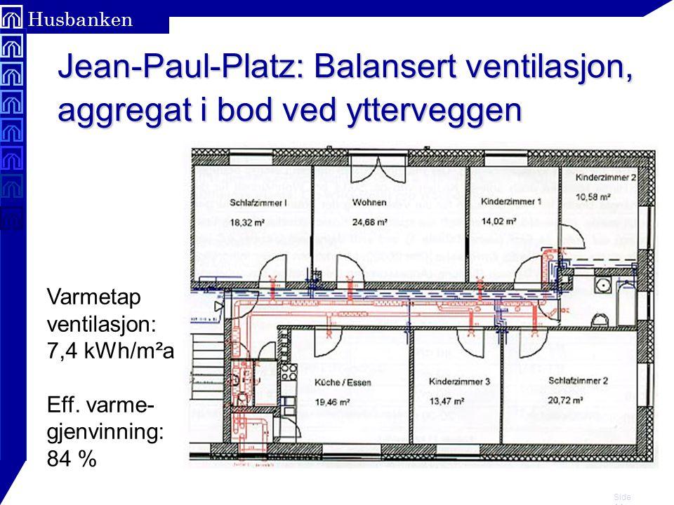 Jean-Paul-Platz: Balansert ventilasjon, aggregat i bod ved ytterveggen