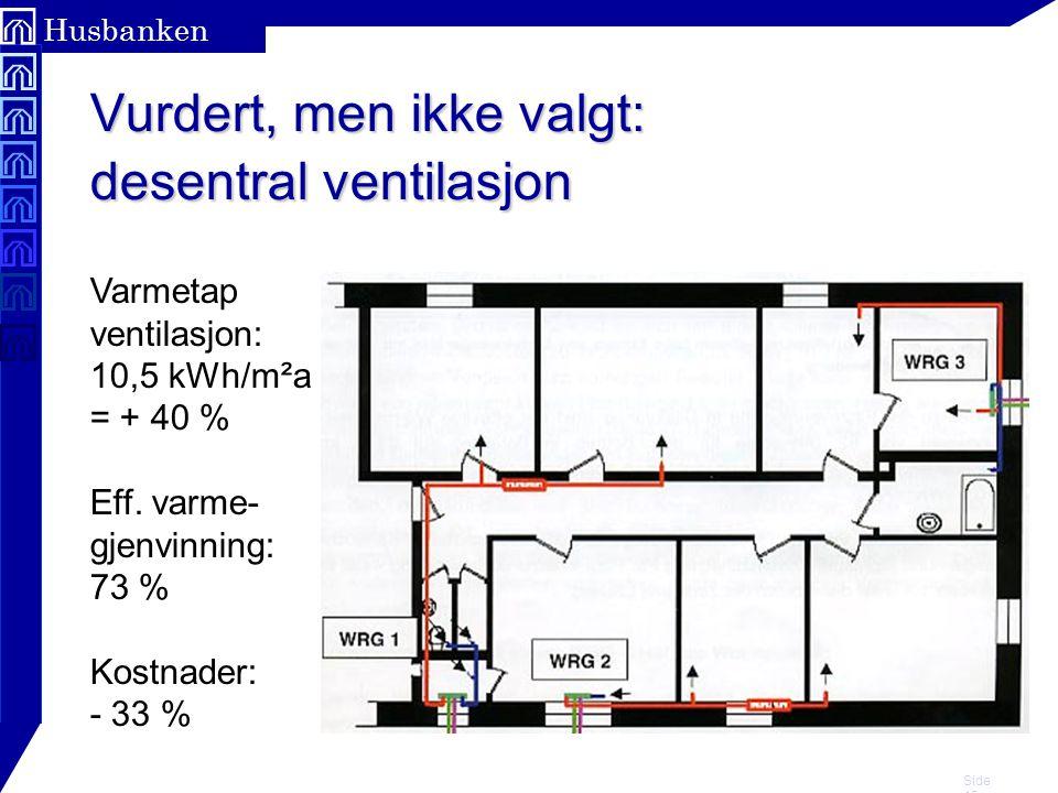 Vurdert, men ikke valgt: desentral ventilasjon