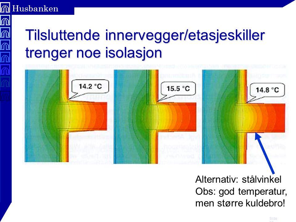 Tilsluttende innervegger/etasjeskiller trenger noe isolasjon