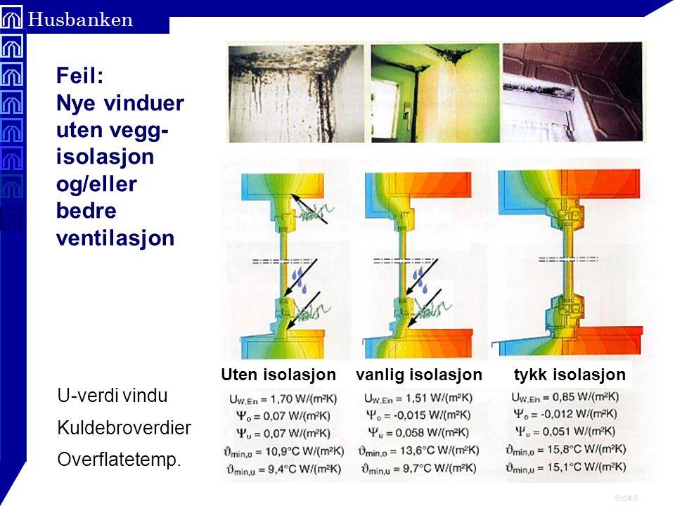 Feil: Nye vinduer uten vegg- isolasjon og/eller bedre ventilasjon