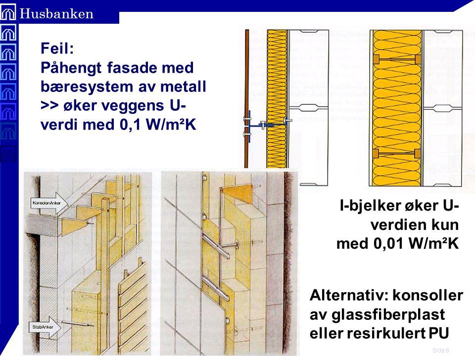 Feil: Påhengt fasade med bæresystem av metall >> øker veggens U-verdi med 0,1 W/m²K