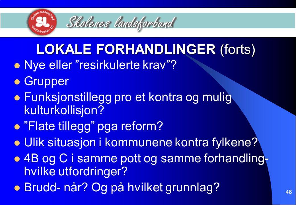 LOKALE FORHANDLINGER (forts)