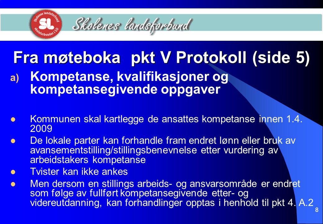 Fra møteboka pkt V Protokoll (side 5)