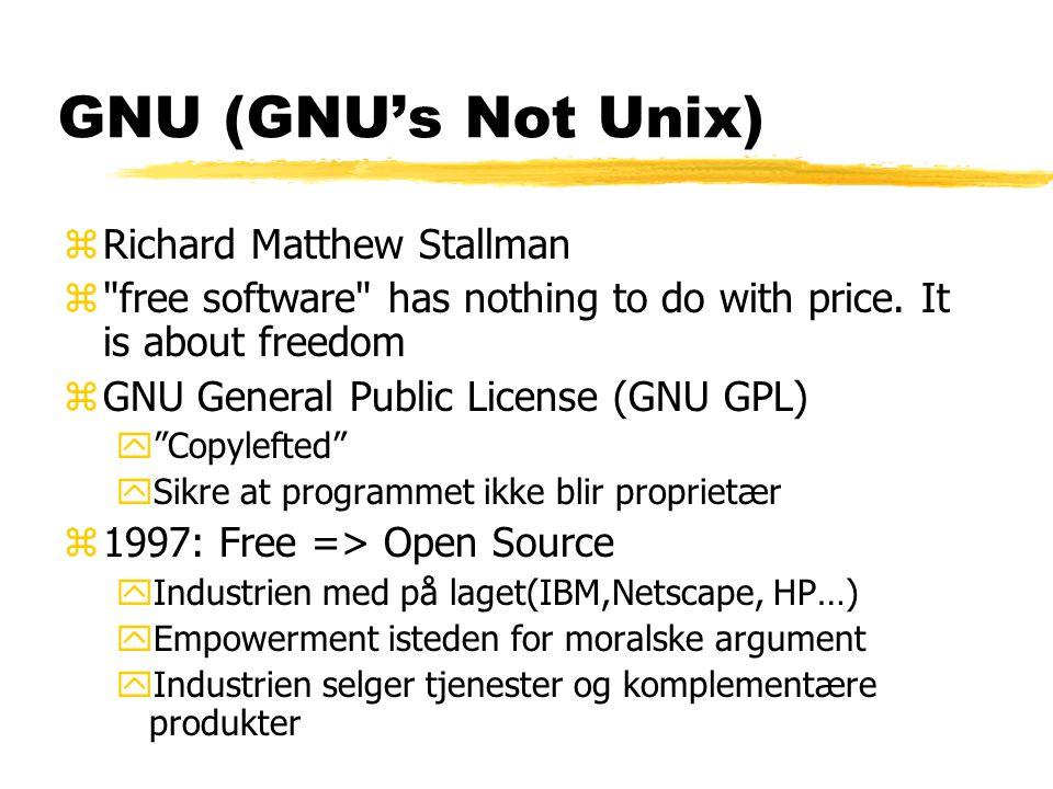 GNU (GNU's Not Unix) Richard Matthew Stallman