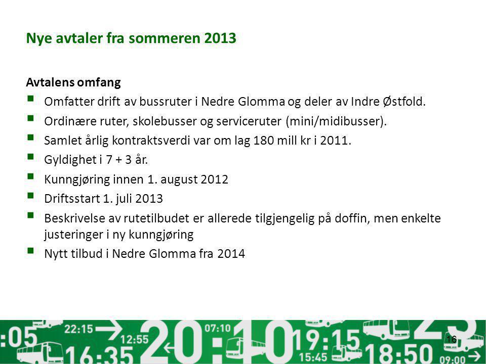 Nye avtaler fra sommeren 2013