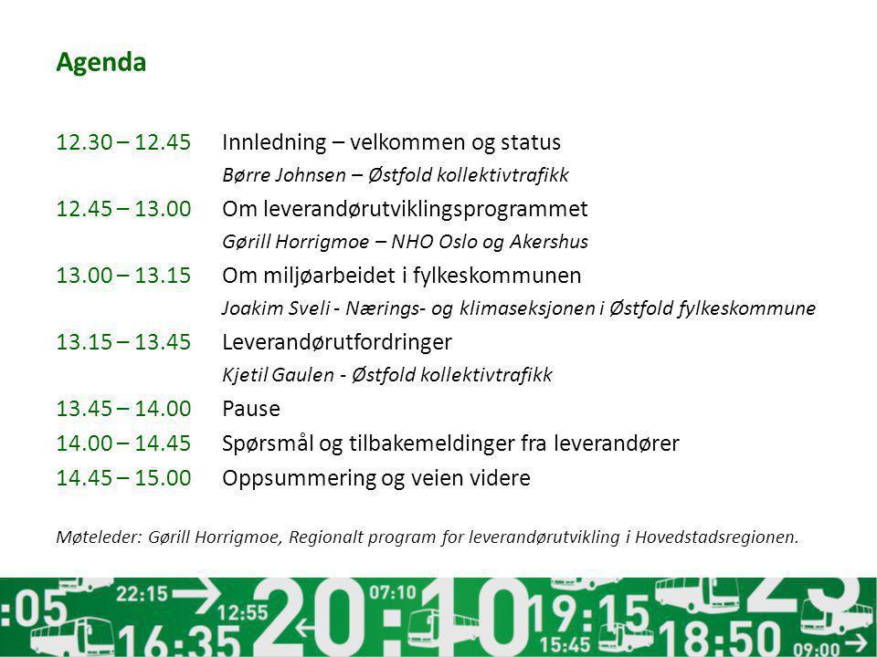 Agenda 12.30 – 12.45 Innledning – velkommen og status