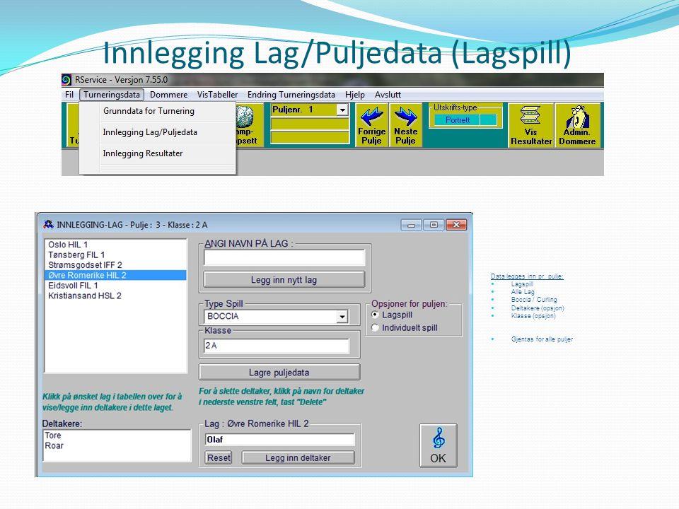 Innlegging Lag/Puljedata (Lagspill)