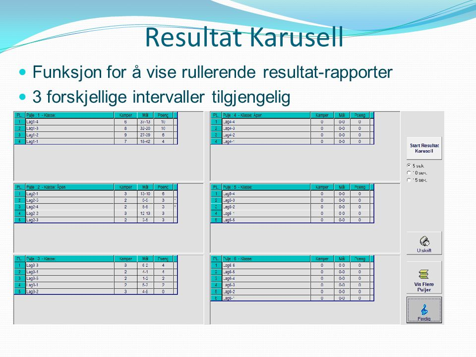 Resultat Karusell Funksjon for å vise rullerende resultat-rapporter
