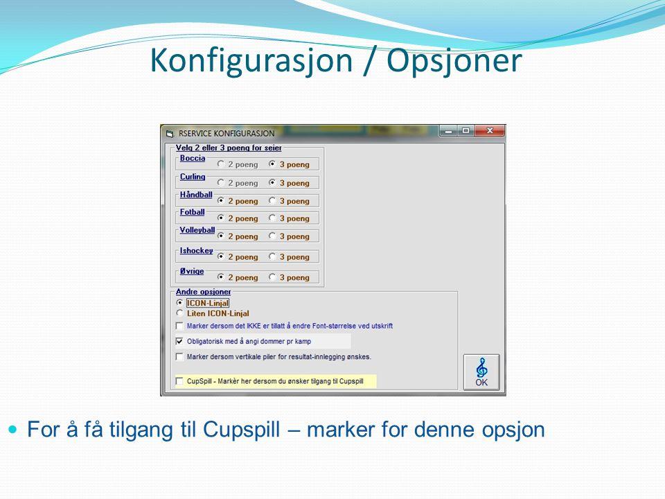 Konfigurasjon / Opsjoner