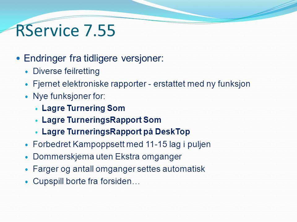 RService 7.55 Endringer fra tidligere versjoner: Diverse feilretting