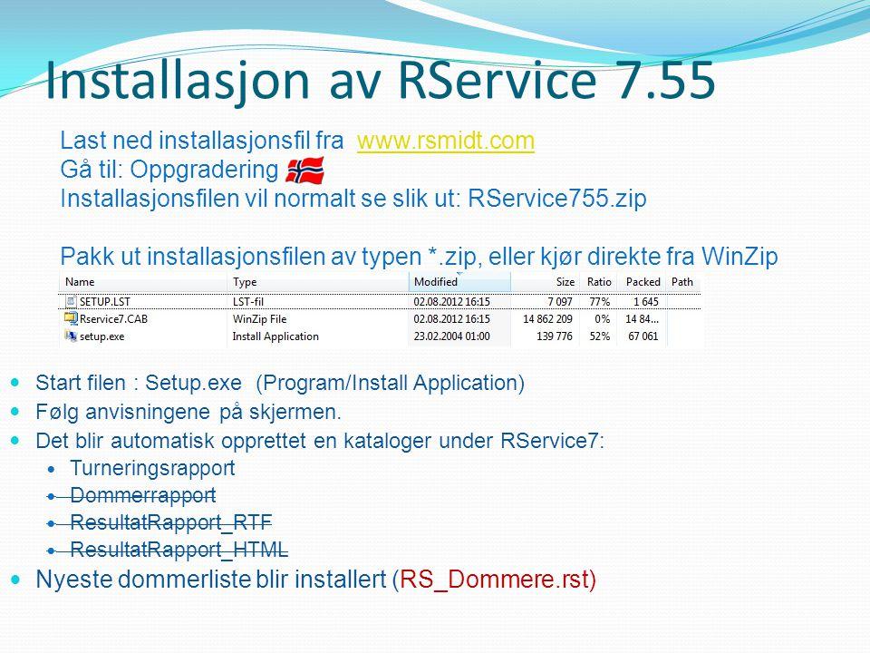 Installasjon av RService 7.55
