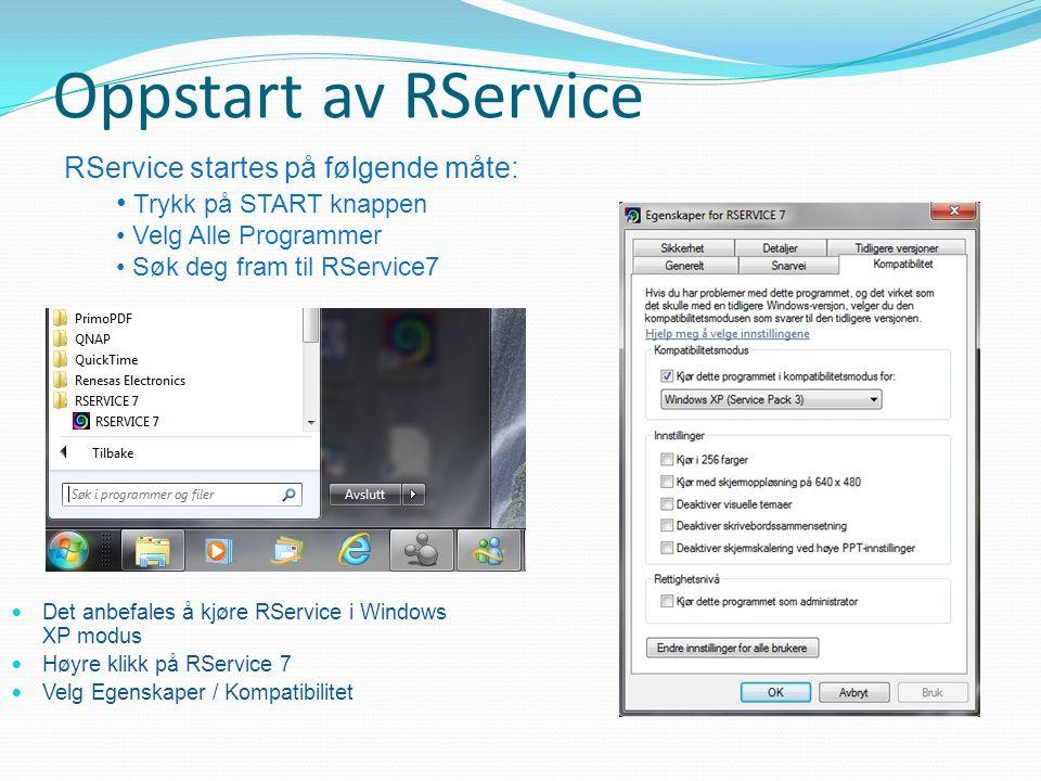 Oppstart av RService RService startes på følgende måte: