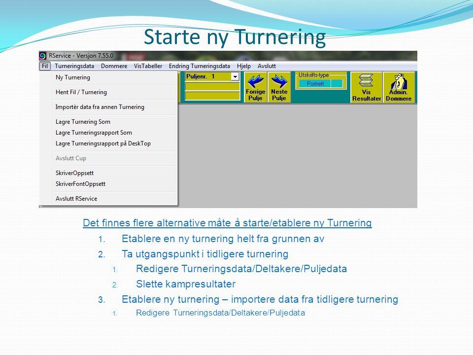 Starte ny Turnering Det finnes flere alternative måte å starte/etablere ny Turnering. Etablere en ny turnering helt fra grunnen av.