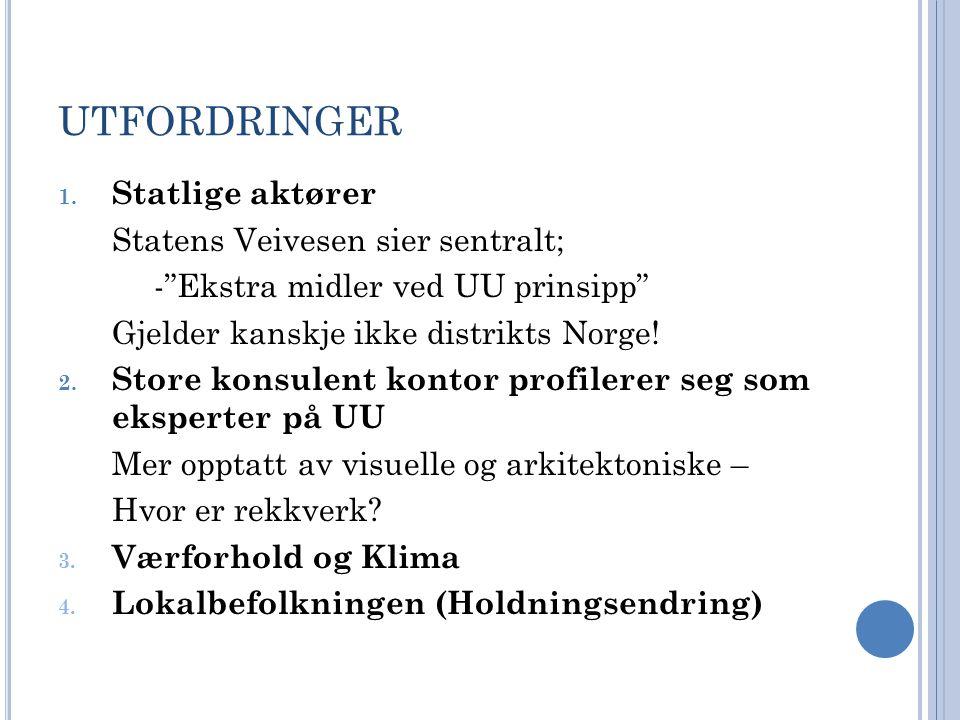 UTFORDRINGER Statlige aktører Statens Veivesen sier sentralt;