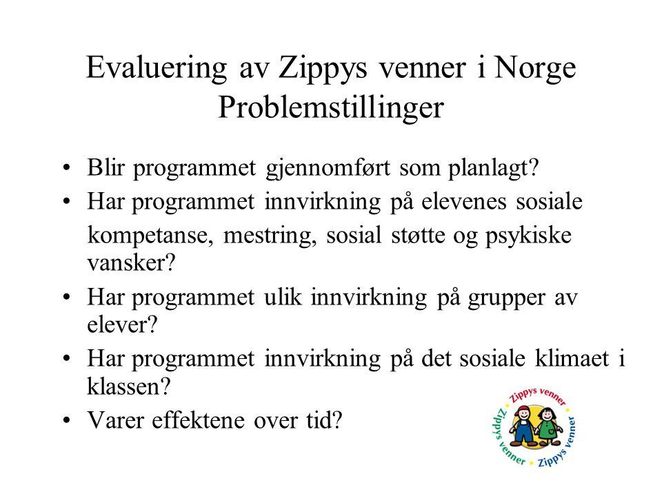 Evaluering av Zippys venner i Norge Problemstillinger