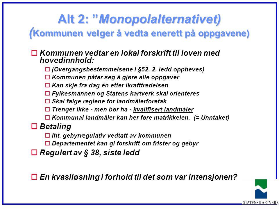Alt 2: Monopolalternativet) (Kommunen velger å vedta enerett på oppgavene)