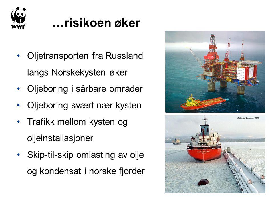 …risikoen øker Oljetransporten fra Russland langs Norskekysten øker