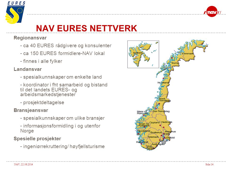 NAV EURES NETTVERK Regionansvar - ca 40 EURES rådgivere og konsulenter
