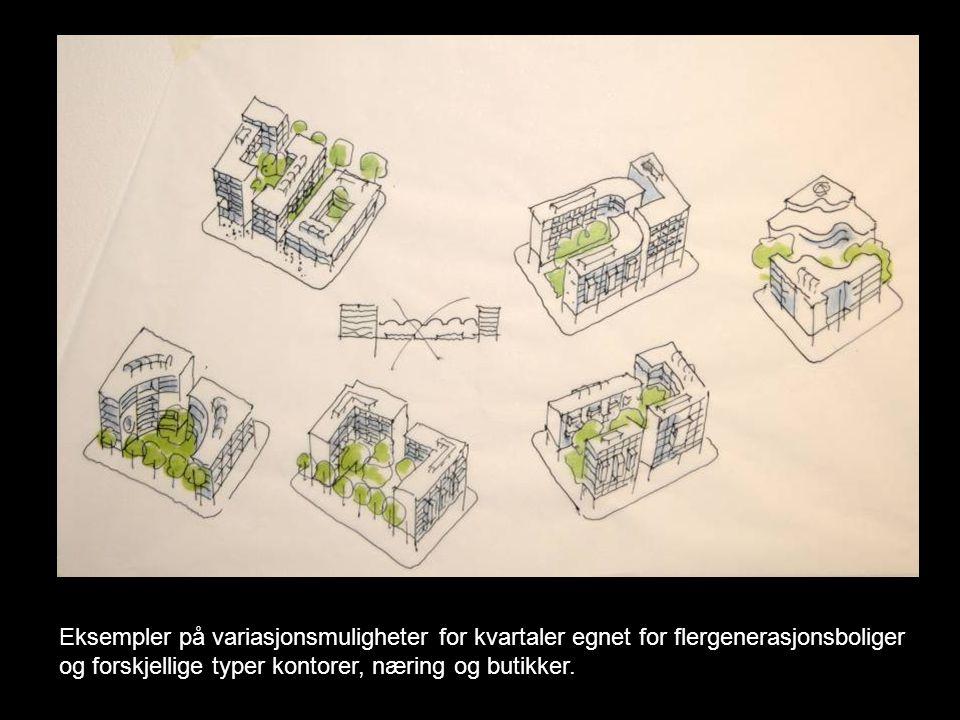 Eksempler på variasjonsmuligheter for kvartaler egnet for flergenerasjonsboliger og forskjellige typer kontorer, næring og butikker.