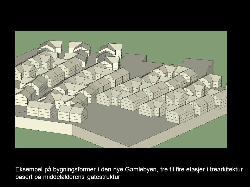 Eksempel på bygningsformer i den nye Gamlebyen, tre til fire etasjer i trearkitektur basert på middelalderens gatestruktur