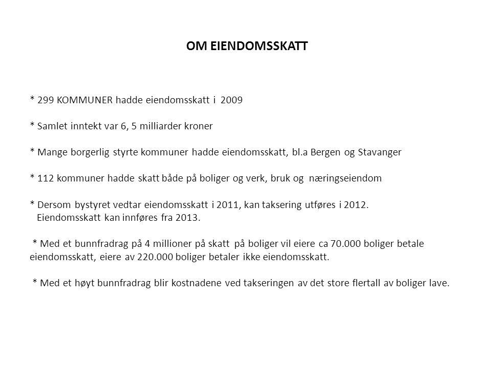 OM EIENDOMSSKATT. 299 KOMMUNER hadde eiendomsskatt i 2009