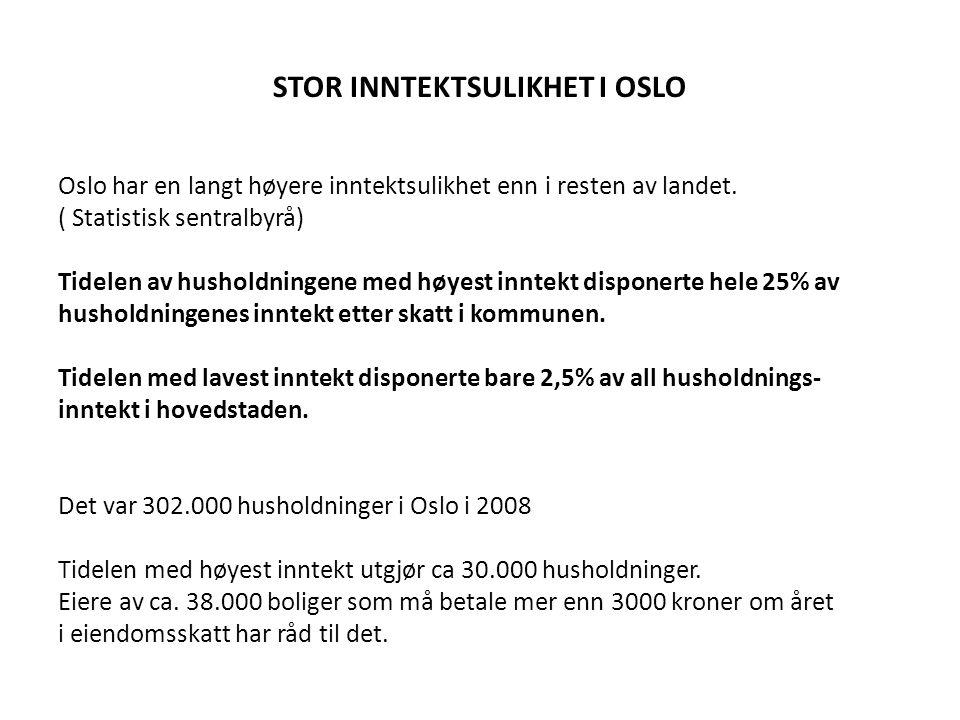 STOR INNTEKTSULIKHET I OSLO Oslo har en langt høyere inntektsulikhet enn i resten av landet.