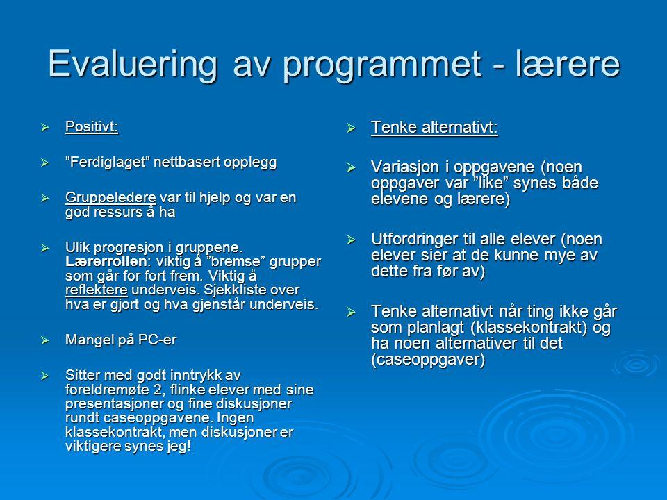 Evaluering av programmet - lærere