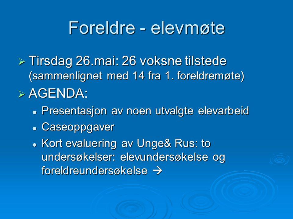 Foreldre - elevmøte Tirsdag 26.mai: 26 voksne tilstede (sammenlignet med 14 fra 1. foreldremøte) AGENDA: