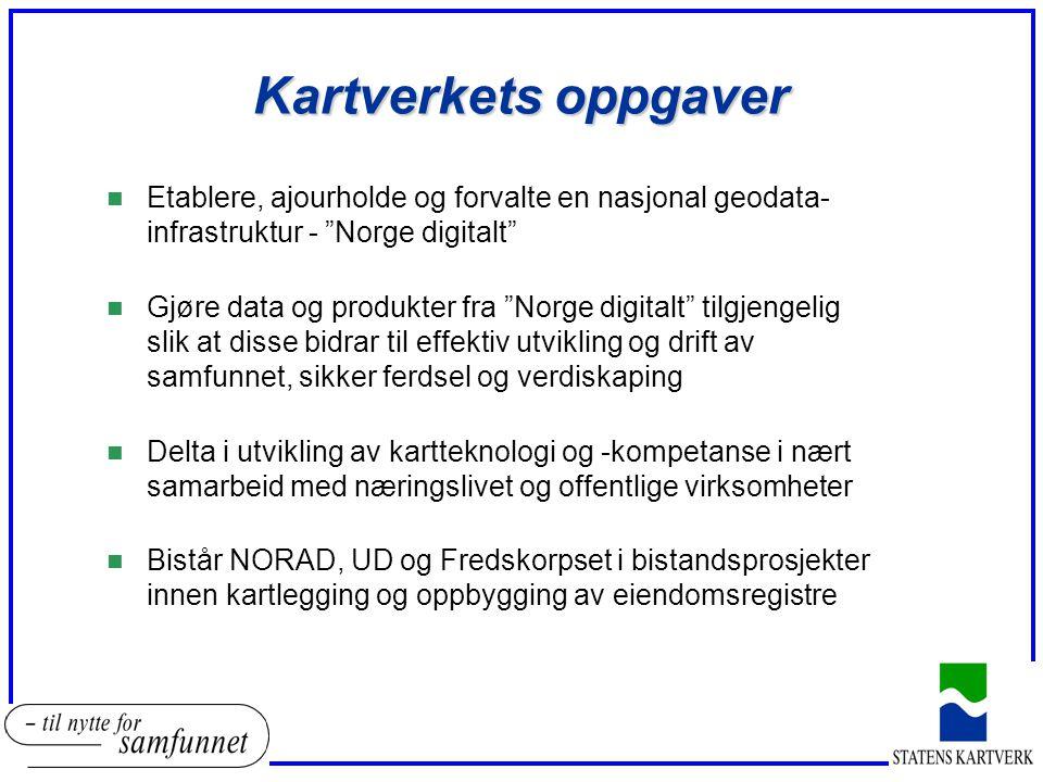 Kartverkets oppgaver Etablere, ajourholde og forvalte en nasjonal geodata- infrastruktur - Norge digitalt