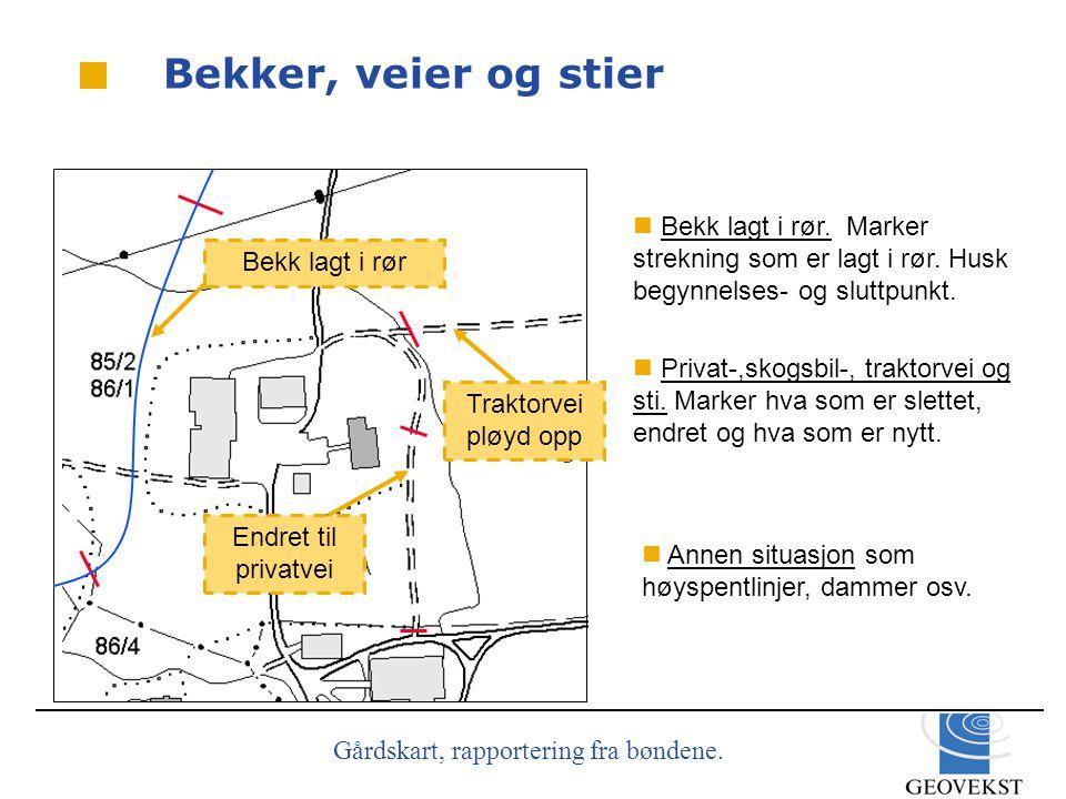 Gårdskart, rapportering fra bøndene.