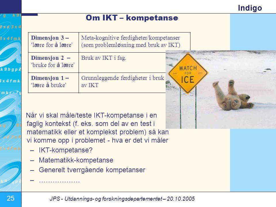 Om IKT – kompetanse Dimensjon 3 – 'lære for å lære' Meta-kognitive ferdigheter/kompetanser. (som problemløsning med bruk av IKT)