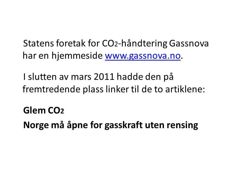 Statens foretak for CO2-håndtering Gassnova har en hjemmeside www