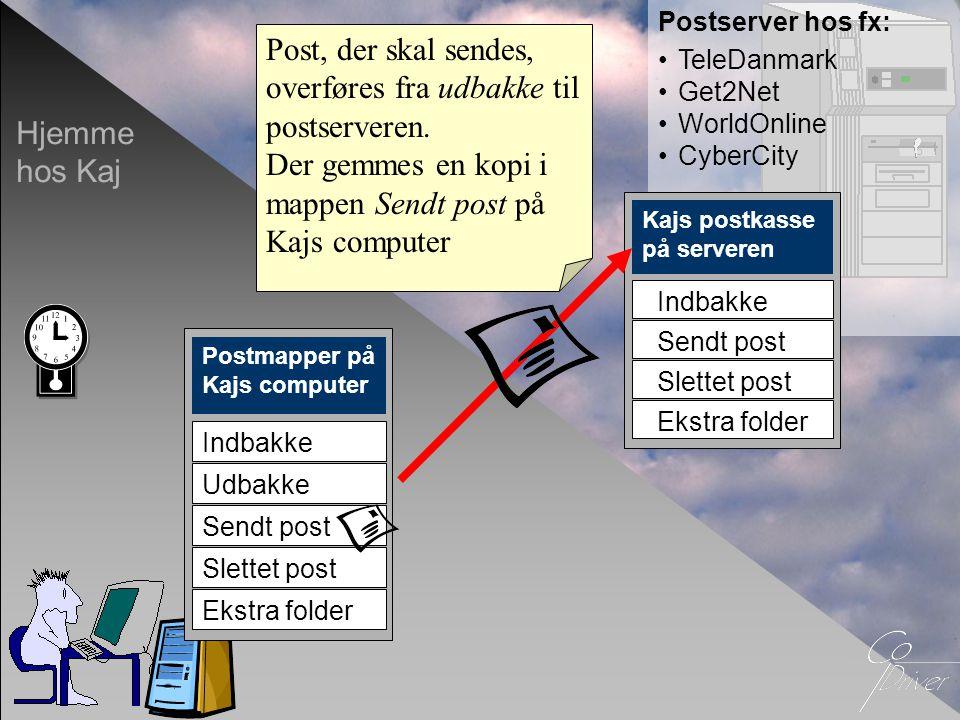 Post, der skal sendes, overføres fra udbakke til postserveren.