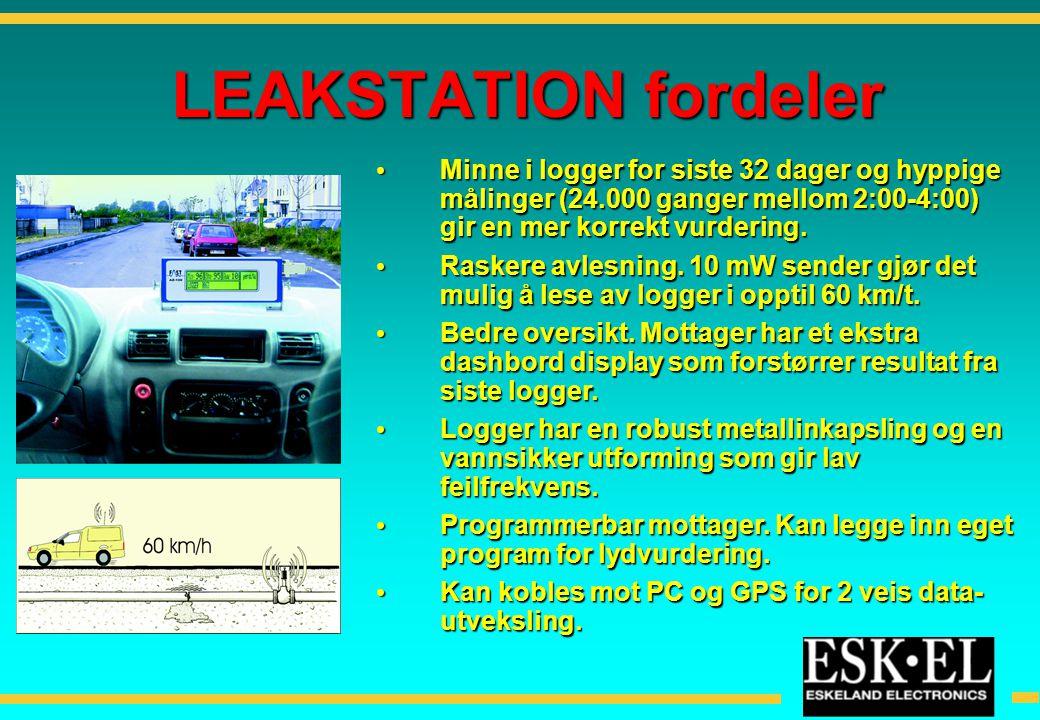 LEAKSTATION fordeler Minne i logger for siste 32 dager og hyppige målinger (24.000 ganger mellom 2:00-4:00) gir en mer korrekt vurdering.