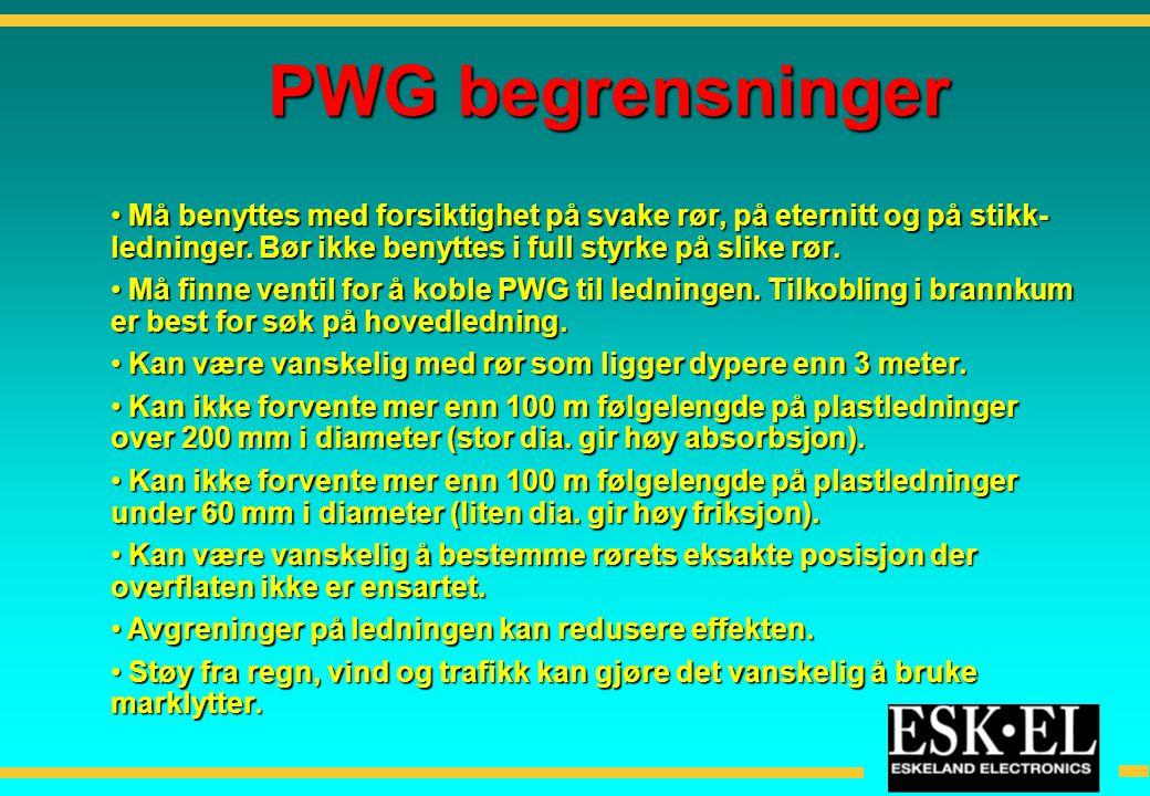 PWG begrensninger Må benyttes med forsiktighet på svake rør, på eternitt og på stikk-ledninger. Bør ikke benyttes i full styrke på slike rør.