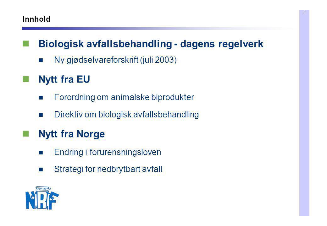 Biologisk avfallsbehandling - dagens regelverk Nytt fra EU