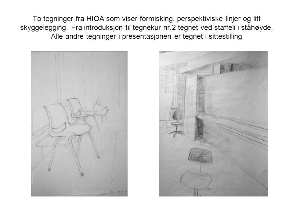 To tegninger fra HIOA som viser formisking, perspektiviske linjer og litt skyggelegging.
