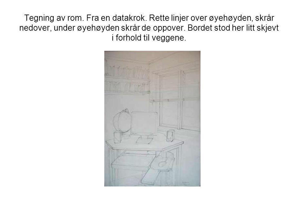 Tegning av rom. Fra en datakrok