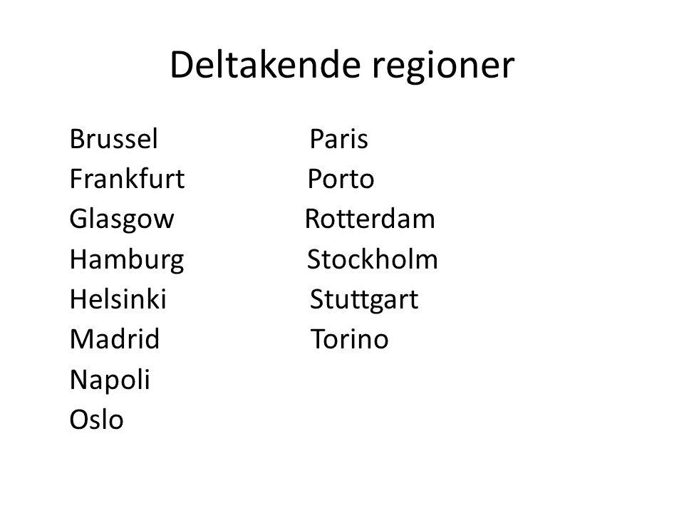Deltakende regioner Brussel Paris Frankfurt Porto Glasgow Rotterdam Hamburg Stockholm Helsinki Stuttgart Madrid Torino Napoli Oslo