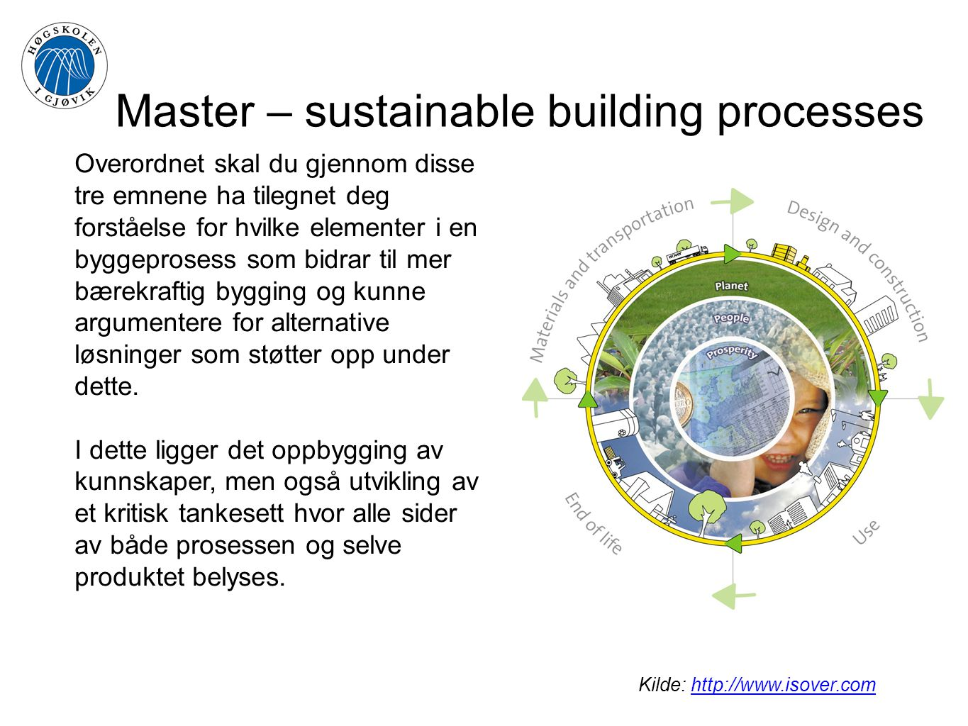 Master – sustainable building processes